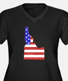 Idaho Flag Women's Plus Size V-Neck Dark T-Shirt
