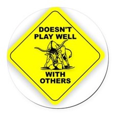 PLAY_WELL Round Car Magnet