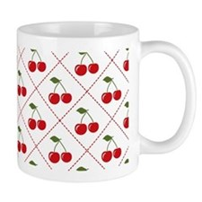 Retro Cherry Argyle Mug