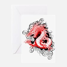 Misty Dragon red black Greeting Card