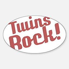 Retro_Twins Rock_Red_Bib Sticker (Oval)