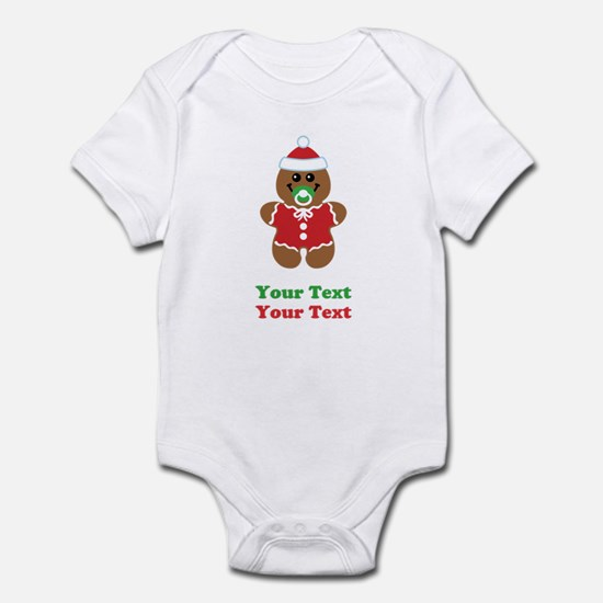 Personalize Gingerbread Santa Baby Infant Bodysuit