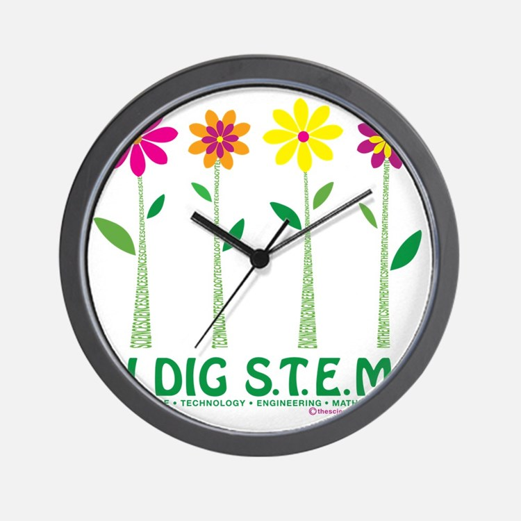 Flower Design STEM Wall Clock