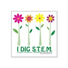 "Flower Design STEM Square Sticker 3"" x 3"""