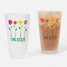 Flower Design STEM Drinking Glass