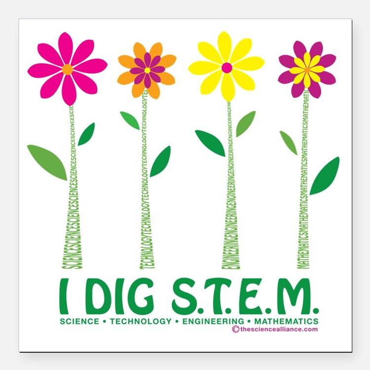"Flower Design STEM Square Car Magnet 3"" x 3"""