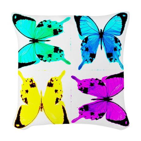 butterflies for store Woven Throw Pillow