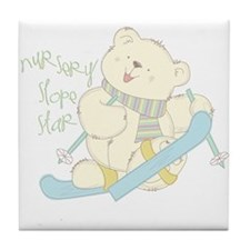 Winter ski Bear Tile Coaster