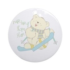 Winter ski Bear Ornament (Round)