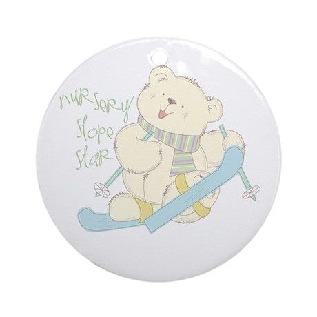 Winter ski Bear Ornament (Round)