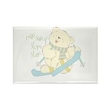 Winter ski Bear Rectangle Magnet