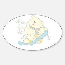 Winter ski Bear Oval Decal