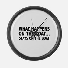 What Happens On The Boat... Large Wall Clock