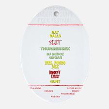 Kickspit back white Oval Ornament