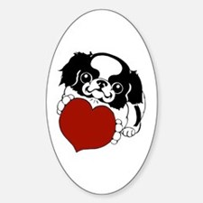 Japanese Chin Heart Oval Decal