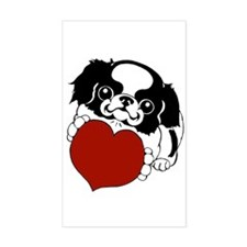 Japanese Chin Heart Rectangle Decal