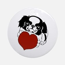 Japanese Chin Heart Ornament (Round)
