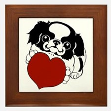 Japanese Chin Heart Framed Tile