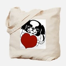 Japanese Chin Heart Tote Bag