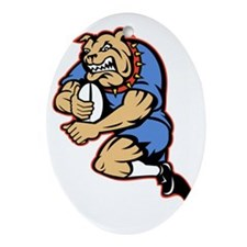 Bulldog playing rugby running with b Oval Ornament