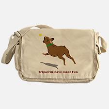 Tripawd Fun Boxer White Messenger Bag