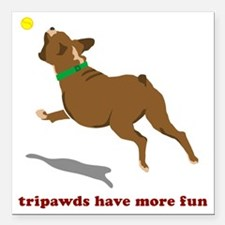 "Tripawd Fun Boxer White Square Car Magnet 3"" x 3"""