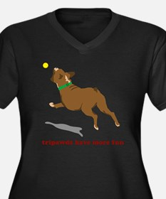 Tripawd Fun  Women's Plus Size Dark V-Neck T-Shirt
