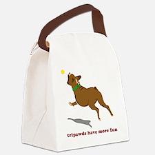 Tripawd Fun Boxer White Canvas Lunch Bag