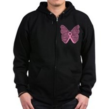 Butterfly Breast Cancer Ribbon Zip Hoodie