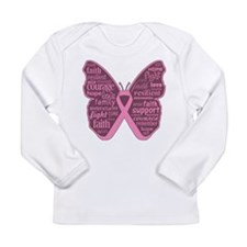 Butterfly Breast Cancer Ribbon Long Sleeve Infant