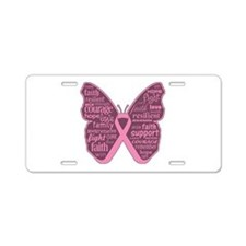 Butterfly Breast Cancer Ribbon Aluminum License Pl