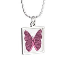 Butterfly Breast Cancer Ribbon Silver Square Neckl