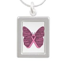 Butterfly Breast Cancer Ribbon Silver Portrait Nec