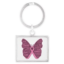 Butterfly Breast Cancer Ribbon Landscape Keychain