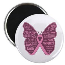 Butterfly Breast Cancer Ribbon Magnet