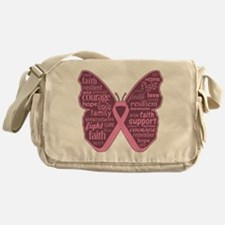 Butterfly Breast Cancer Ribbon Messenger Bag