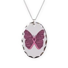 Butterfly Breast Cancer Ribbon Necklace Oval Charm