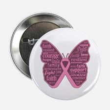 "Butterfly Breast Cancer Ribbon 2.25"" Button"