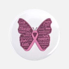 "Butterfly Breast Cancer Ribbon 3.5"" Button (100 pa"