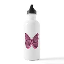 Butterfly Breast Cancer Ribbon Water Bottle