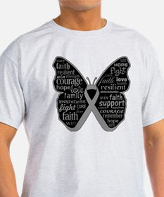 Butterfly Brain Cancer Ribbon T-Shirt