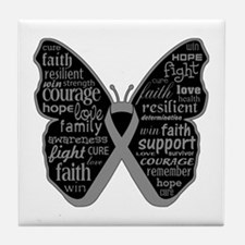 Butterfly Brain Cancer Ribbon Tile Coaster