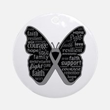 Butterfly Brain Cancer Ribbon Ornament (Round)