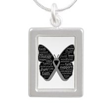 Butterfly Brain Cancer Ribbon Silver Portrait Neck