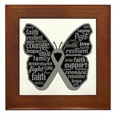Butterfly Brain Cancer Ribbon Framed Tile