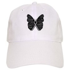 Butterfly Brain Cancer Ribbon Baseball Cap