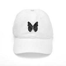 Butterfly Brain Cancer Ribbon Baseball Cap