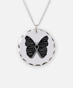 Butterfly Brain Cancer Ribbon Necklace Circle Char