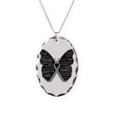 Butterfly Brain Cancer Ribbon Necklace Oval Charm