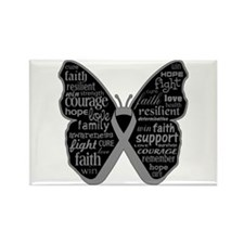 Butterfly Brain Cancer Ribbon Rectangle Magnet
